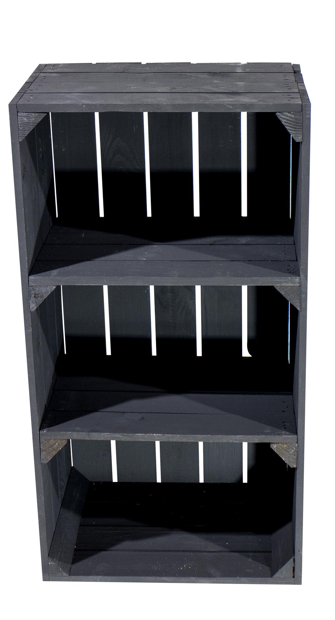 12x Schwarze schmale Regalkiste