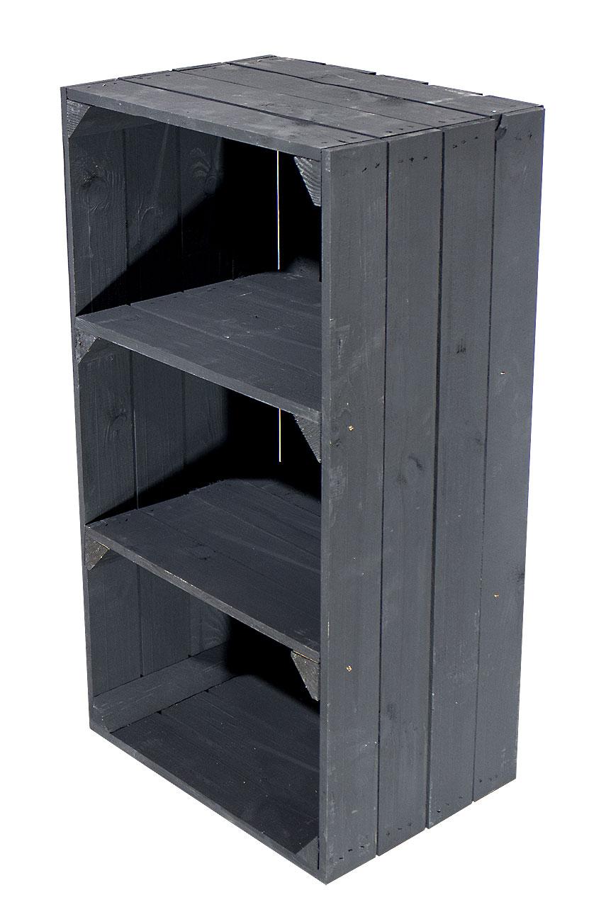 Schwarze schmale Regalkiste 75x40x31cm