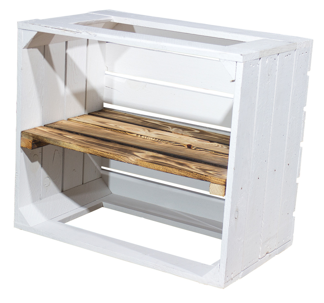 Weiße Regalkiste -geflammtes Mittelbrett - Display Edition 50x40x30cm