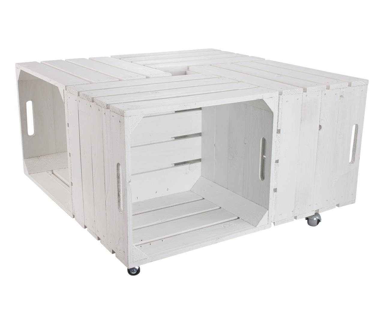 Weißer Tisch aus Kallax Kisten