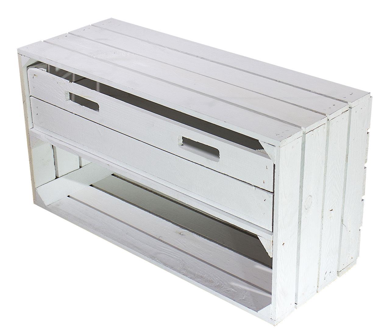 Breite weiße Kiste mit Schublade 74,5X40,5X31CM
