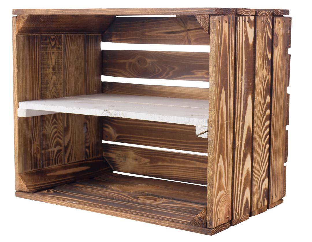 Geflammte Holzkiste mit weißen Mittelbrett -längs- 50x40x30cm