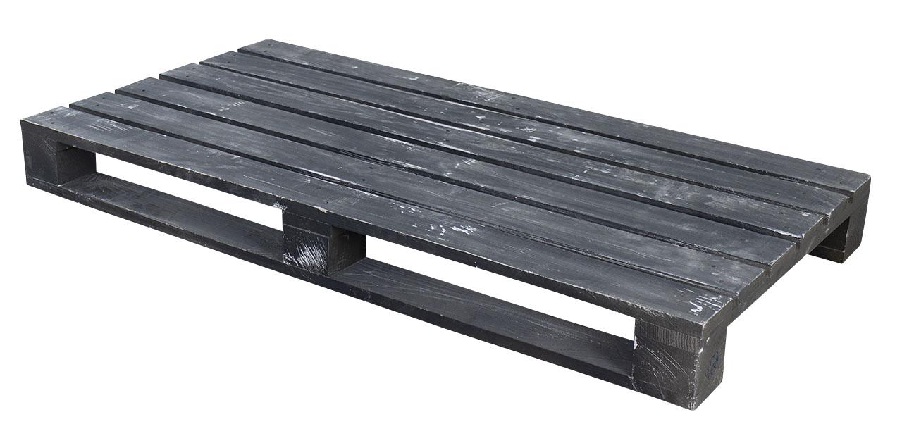 Moderne Holzpalette in shabby schwarz 120x60x12,5cm