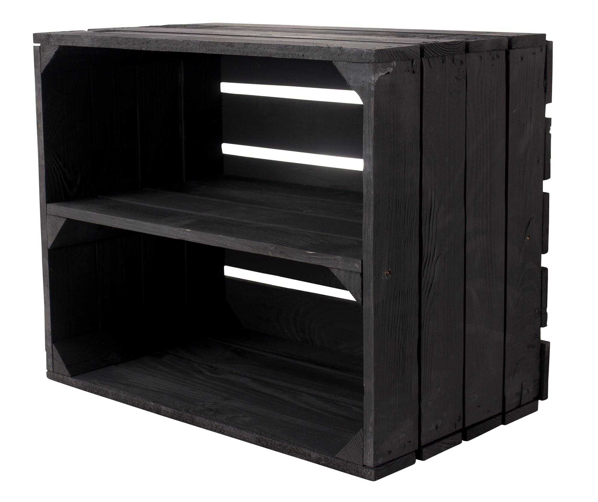 36x Holzkiste für Schuh- und Bücherregal in schwarz 50x40x30cm