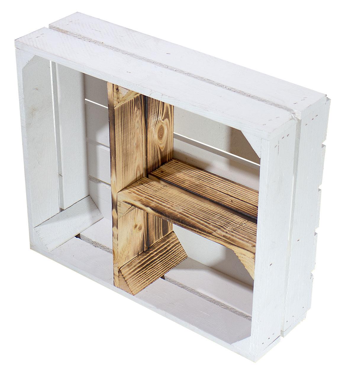 Flache weiß geflammte Kiste mit T Trenner 50x40x15cm