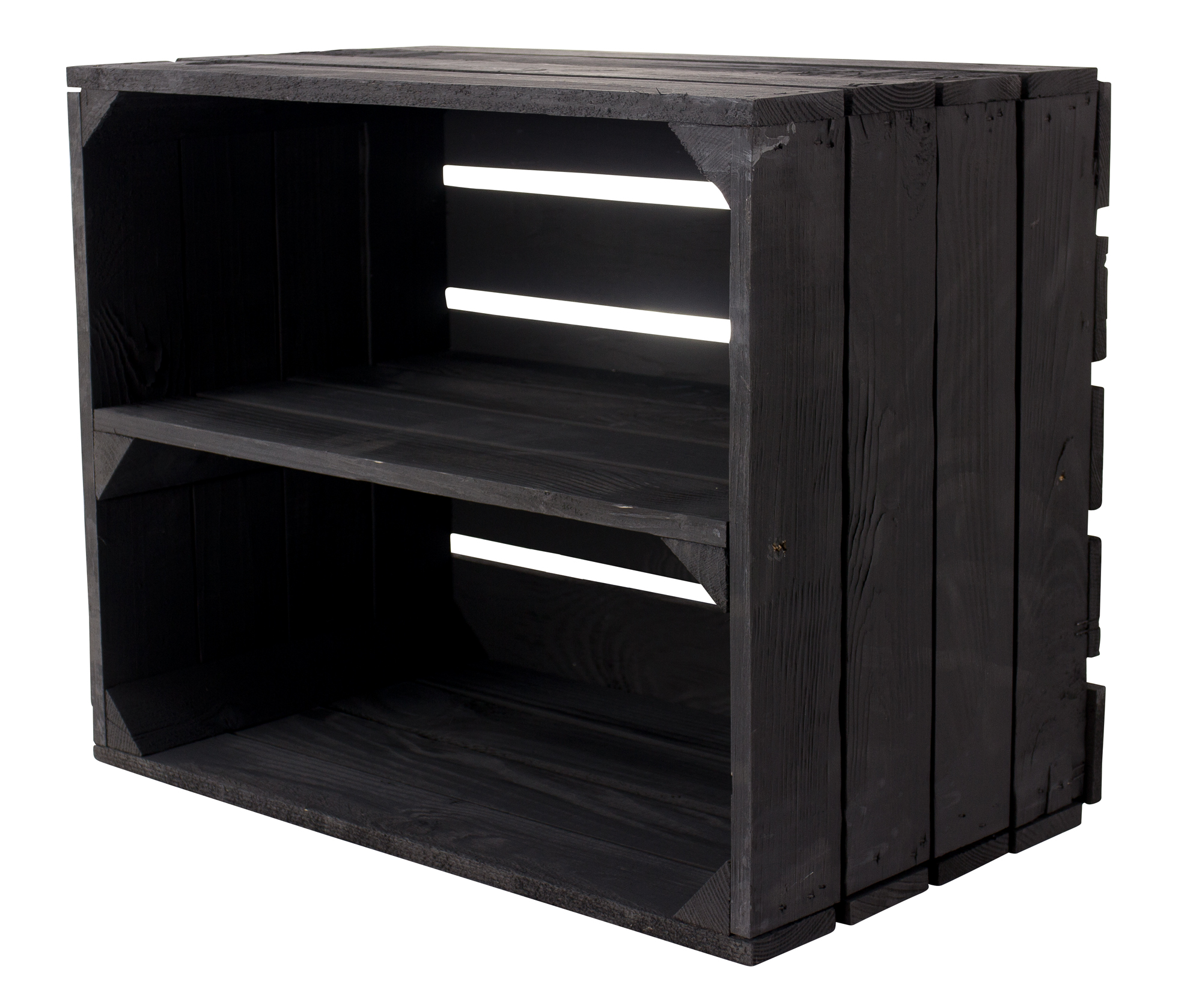 Holzkiste als Schuh- oder Bücherregal in Schwarz 50x40x30cm