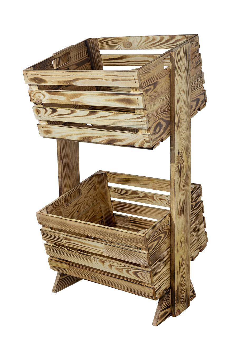 Modernes Holzregal mit 2 gekippten, geflammten Apfelkisten für die Küche