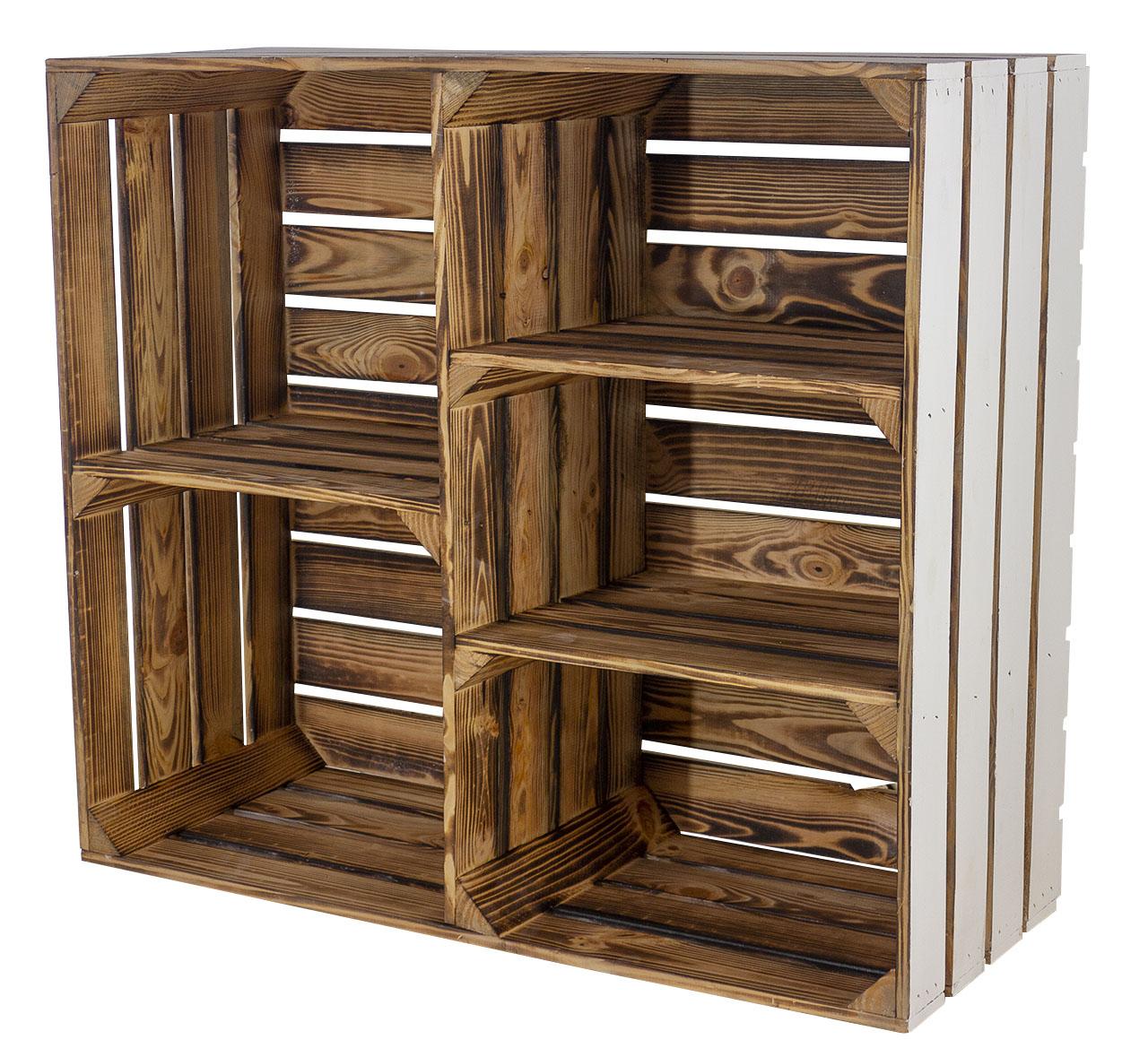 Weißer Holzschrank mit 3 Mittelbretter und Trennbrett innen geflammt 77x68x35cm