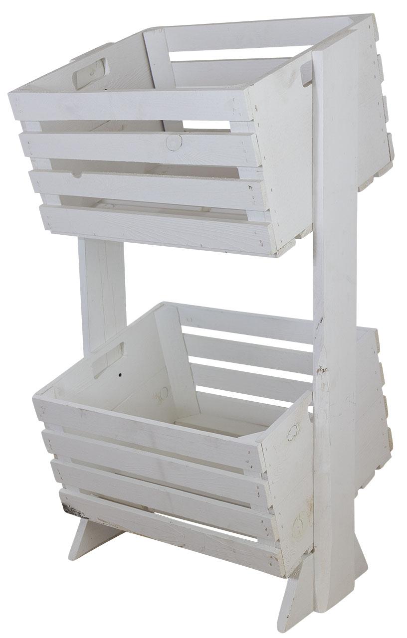 Extravagantes Flaschenregal aus Holz, mit Zwei weißen, geneigten Kisten, für Wohnzimmer/Küche