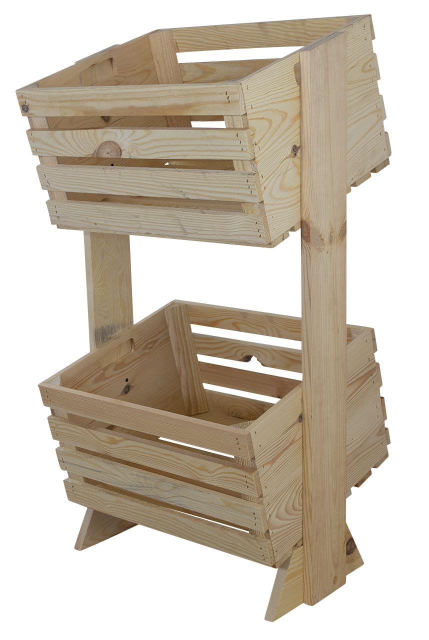 Helles Regal aus Holzkiste, ideal zum Spielzeug Verstauen, leicht zugänglich dank Neigung