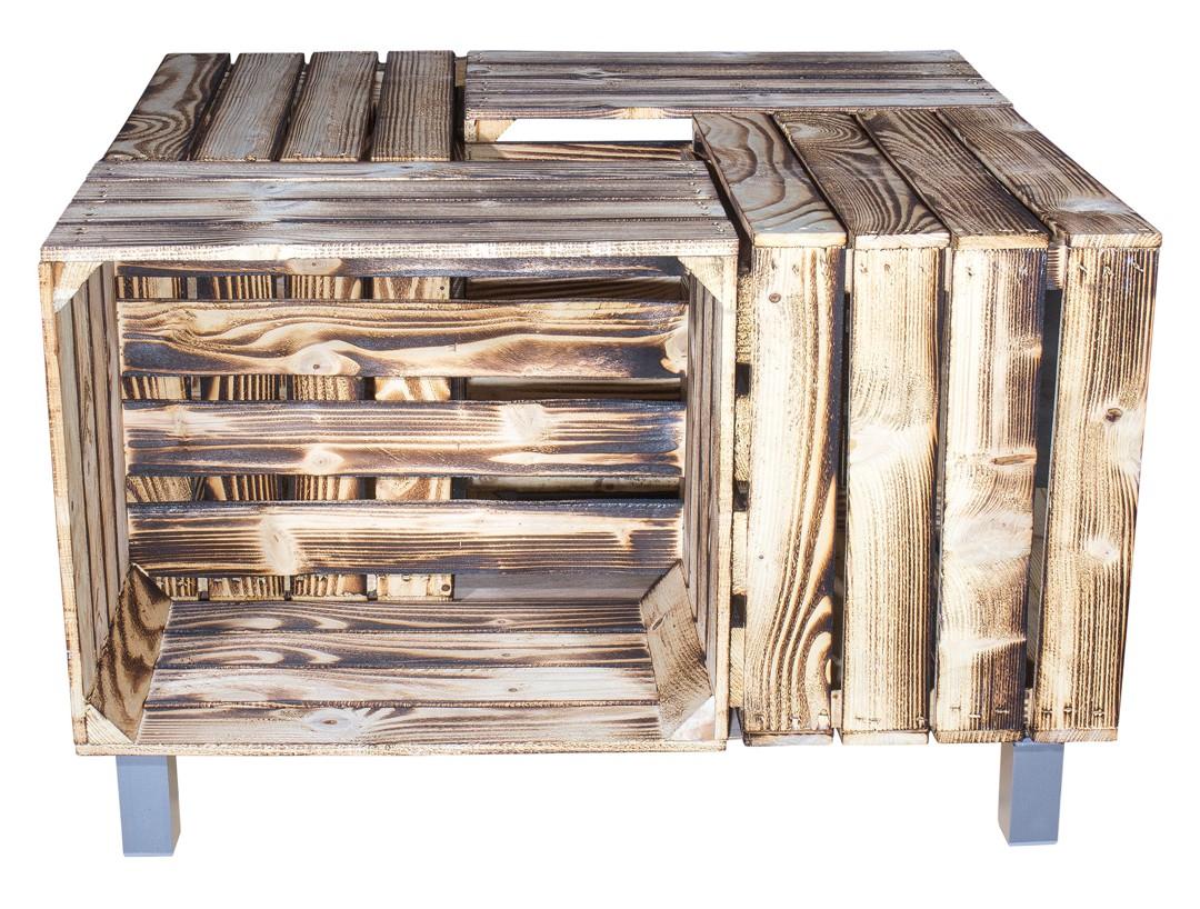 alle m bel couchtisch aus geflammten apfelkisten auf grauen f en inkl glasplatte 81x81x44cm. Black Bedroom Furniture Sets. Home Design Ideas
