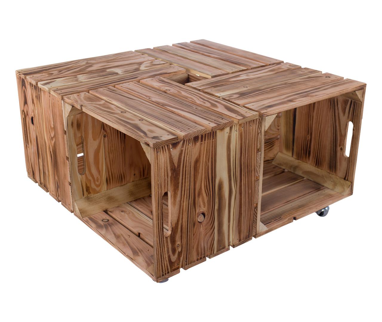 Couchtisch aus geflammten Holzkisten auf Rollen 85x85cm