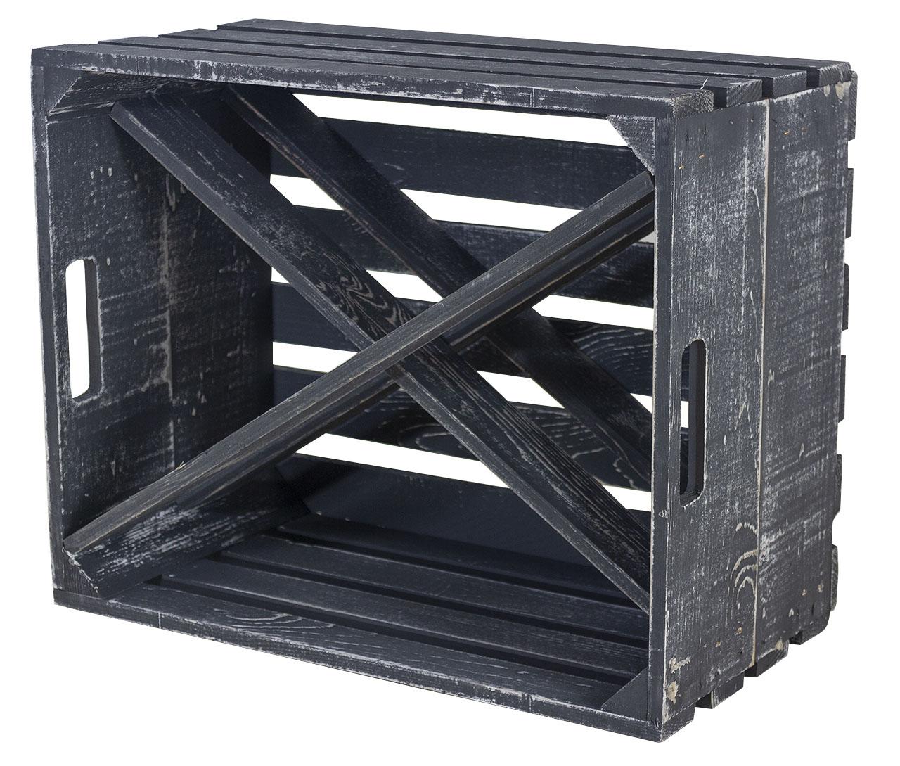 Shabby schwarze Kiste X als Flaschenregal 50x40x23cm