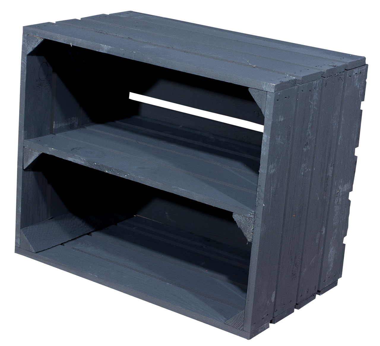 Holzkiste für Schuh- und Bücherregal in schwarz 50x40x30cm