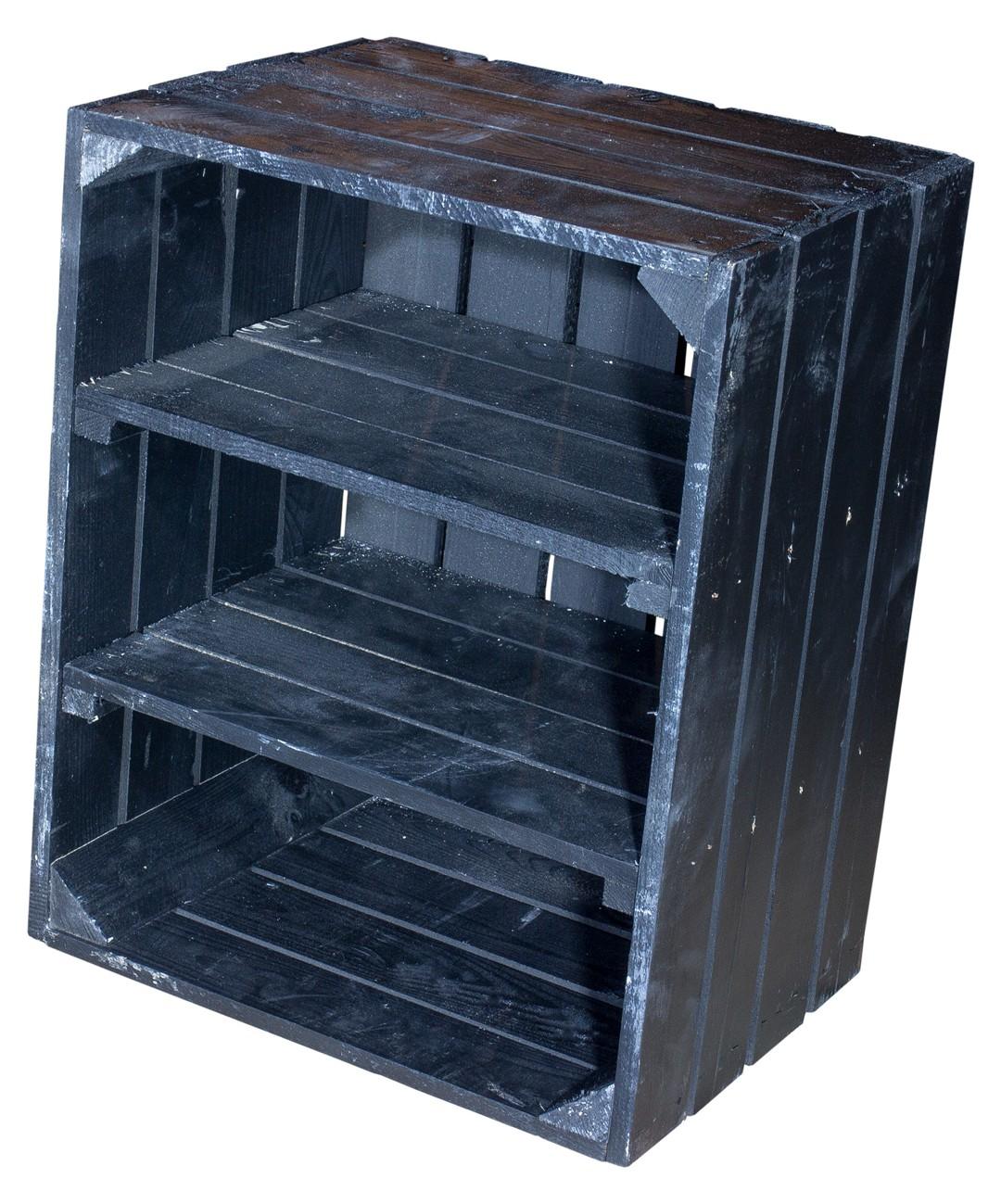 Schwarze Holzkiste mit 2 schwarzen Mittelbrettern -quer- 50x40x30cm