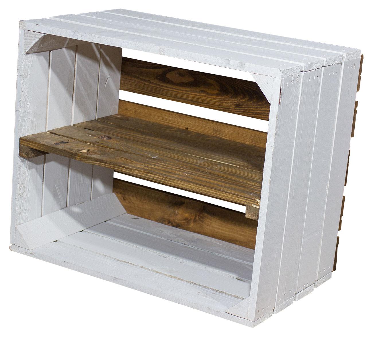 Weißes Regal - Apfelkiste Weißer Boden braunes Mittelbrett 50x40x30cm