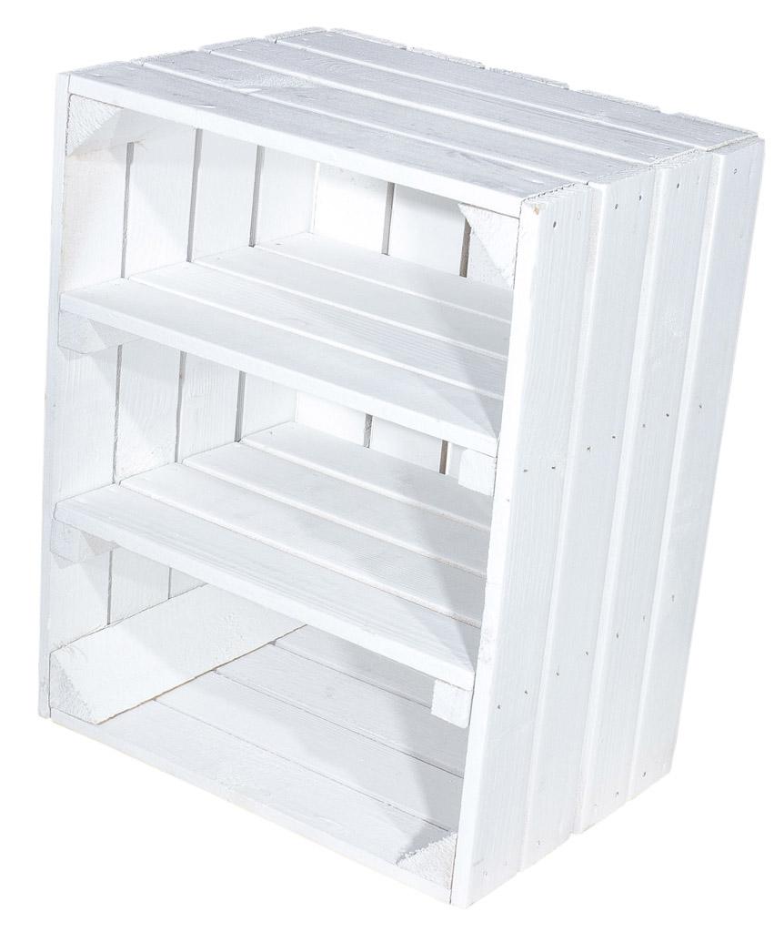 Weiße Holzkiste mit 2 weißen Mittelbrettern -quer- 50x40x30cm