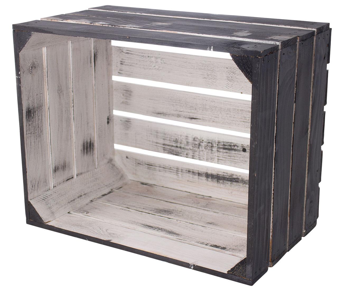 Shabby schwarze Apfelkiste 50x40x30cm
