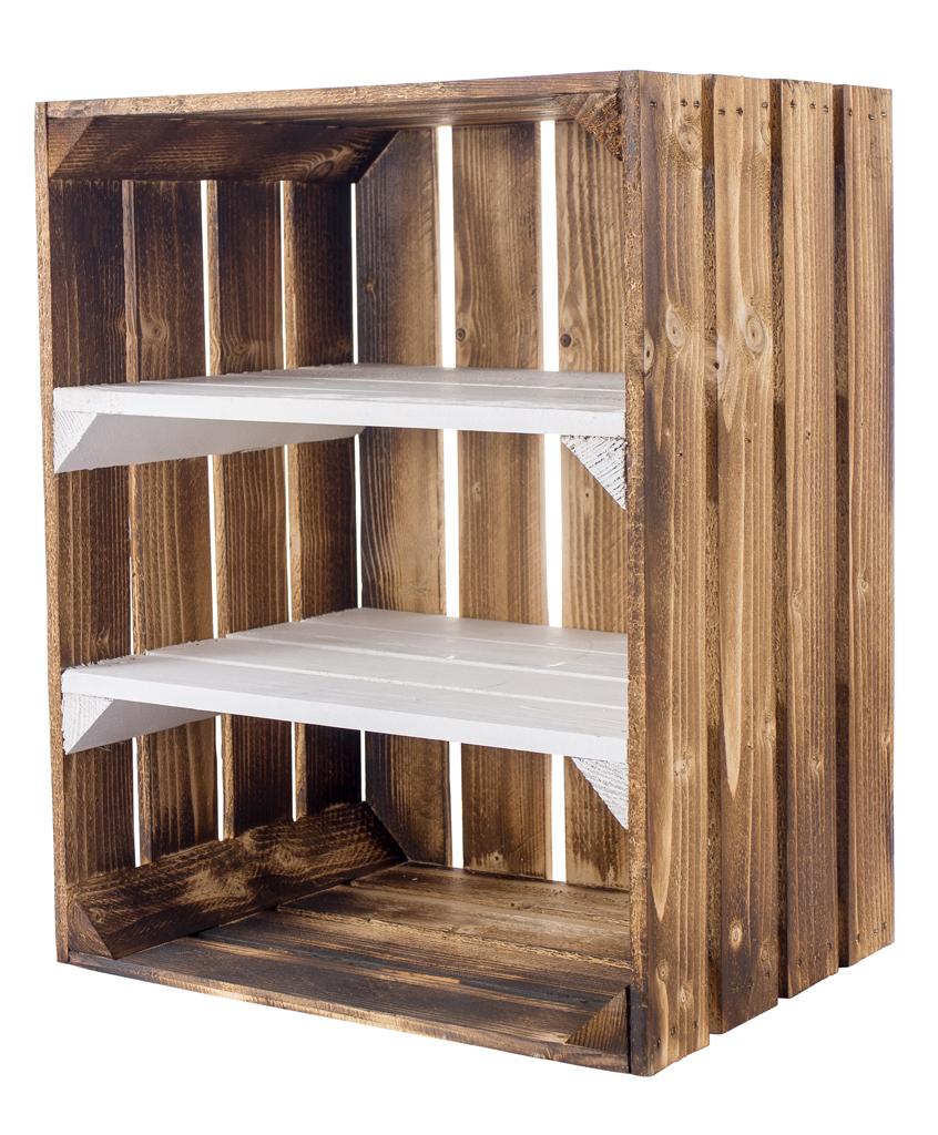 Geflammte Holzkiste mit 2 weißen Mittelbrettern -quer- 50x40x30cm