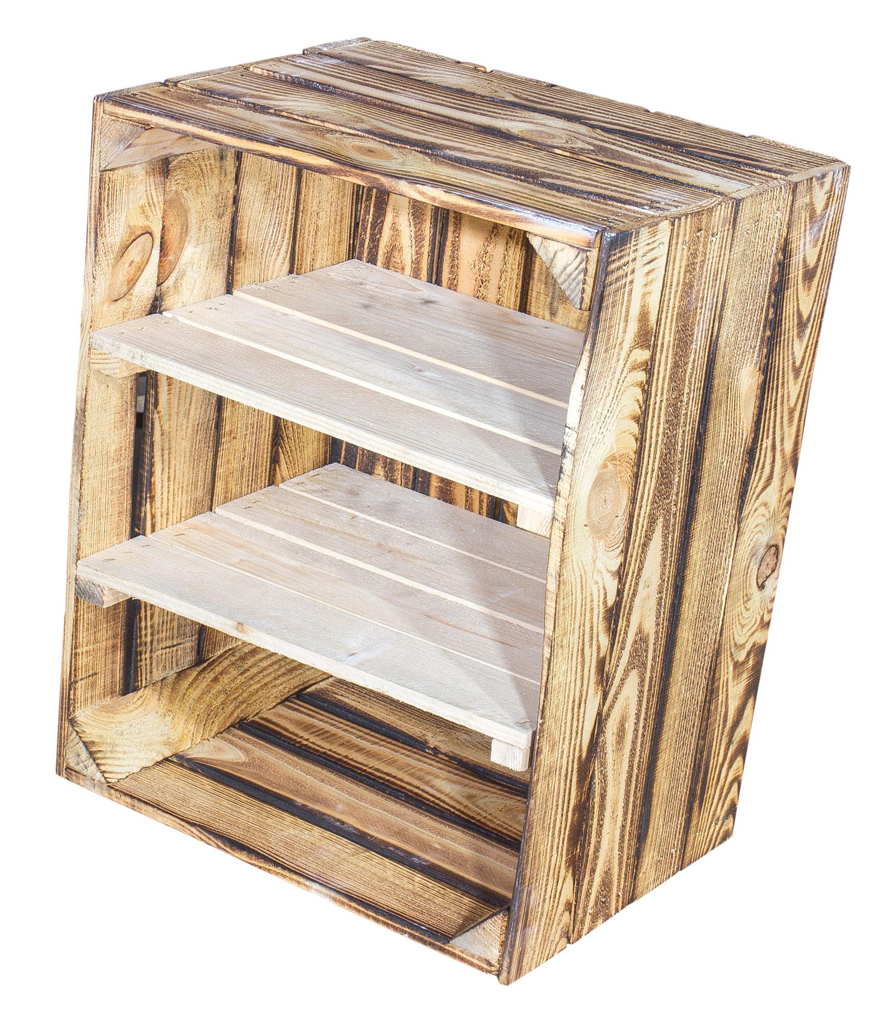 Geflammte Holzkiste mit 2 Mittelbretter in natur -quer- 50x40x30cm