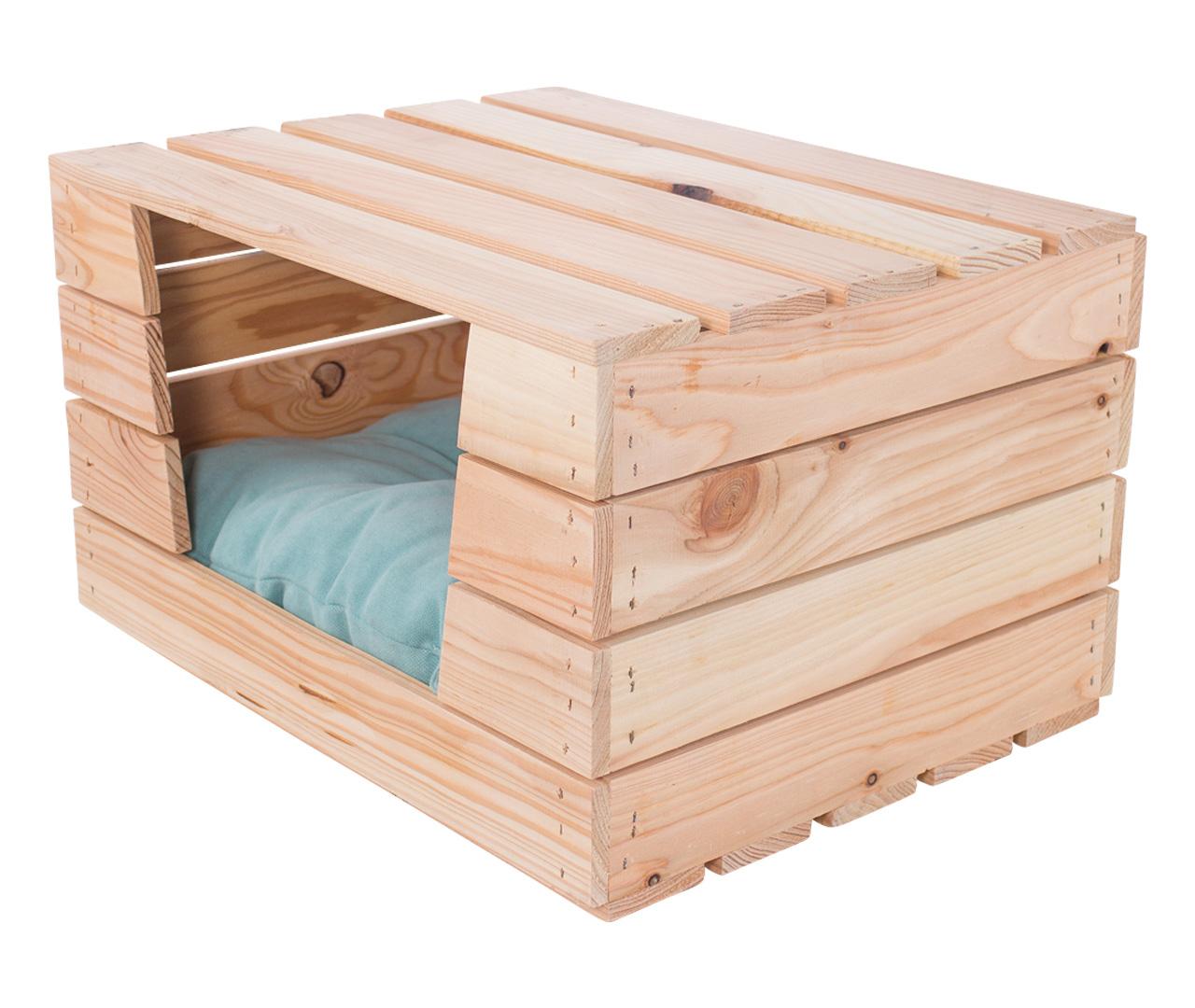 Hundebett in hellen Holz mit Kissen