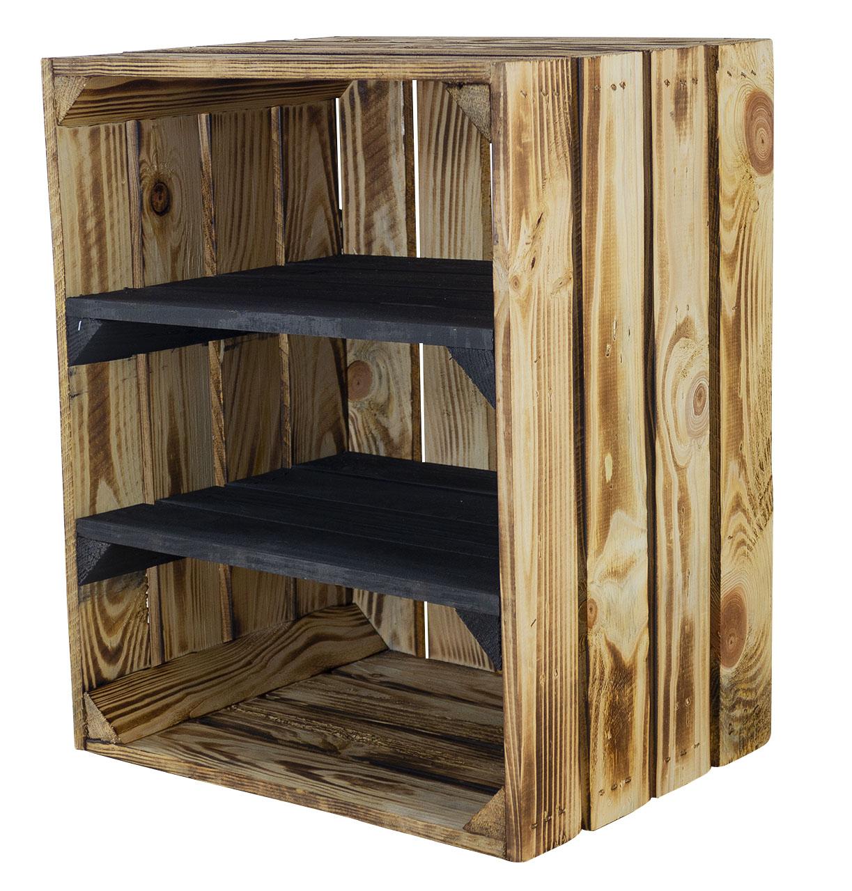 Geflammte Holzkiste mit 2 schwarzen Mittelbrettern -quer- 50x40x30cm