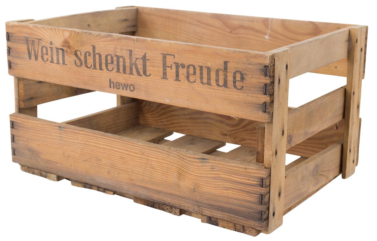 """Alte Weinkiste mit Aufdruck """"Wein schenkt Freude"""" 46x30,5x24cm"""