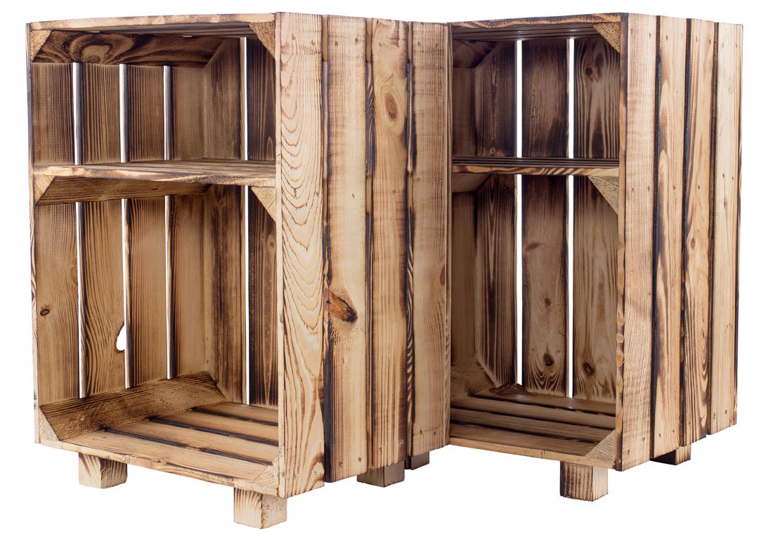 2er Set - Nachttisch mit Boden in *geflammt* 30,5x40x54cm
