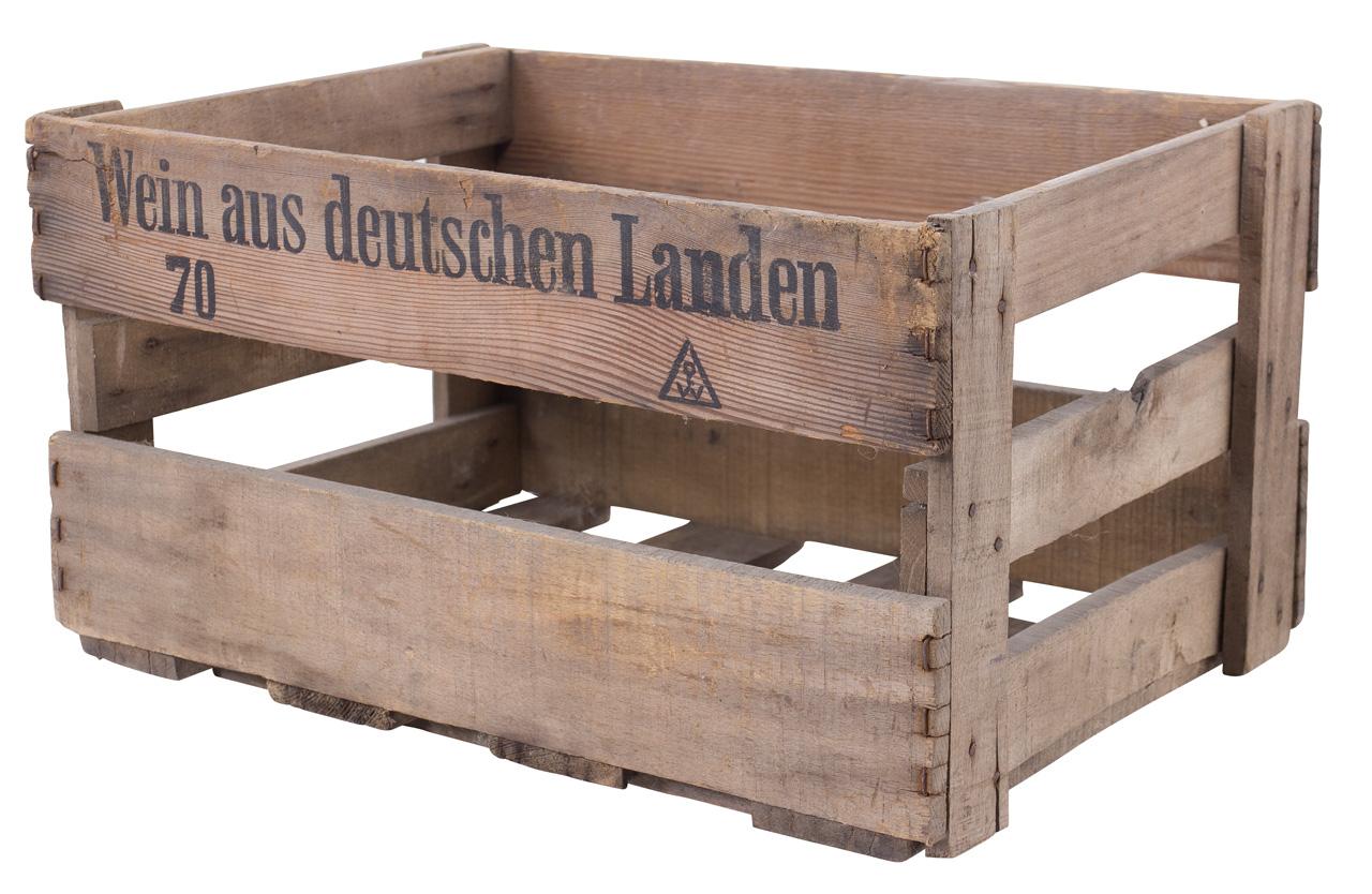 """Alte Weinkiste mit Aufdruck """"Wein aus deutschen Landen"""" 46x30,5x24cm"""