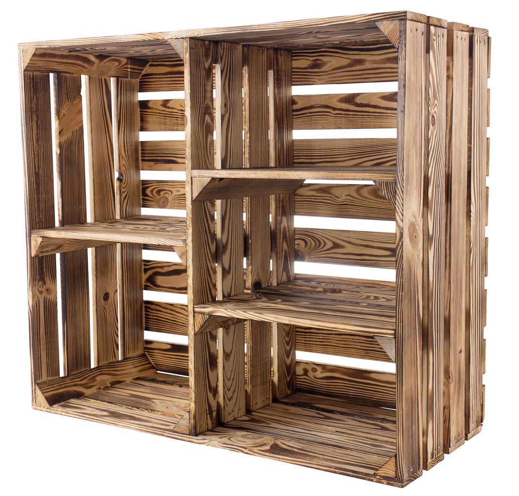 Geflammter Holzschrank mit 3 Mittelbretter und Trennbrett 77x68x35cm