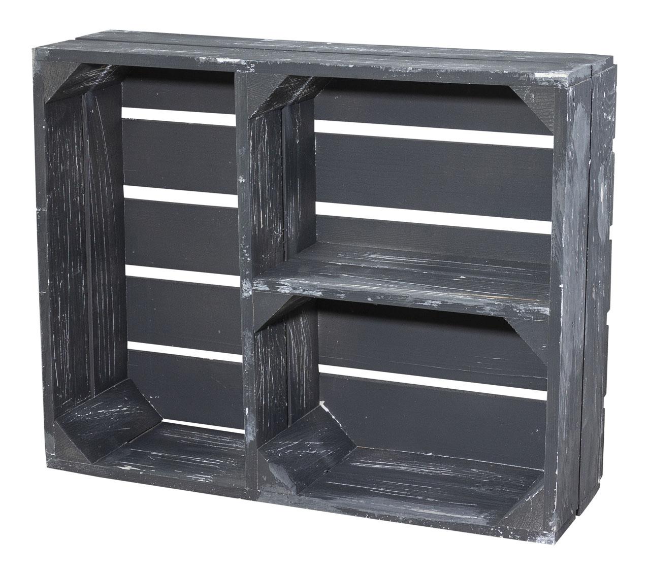 Regalkiste flach in shabby schwarz mit 3 Fächern 50x40x15cm