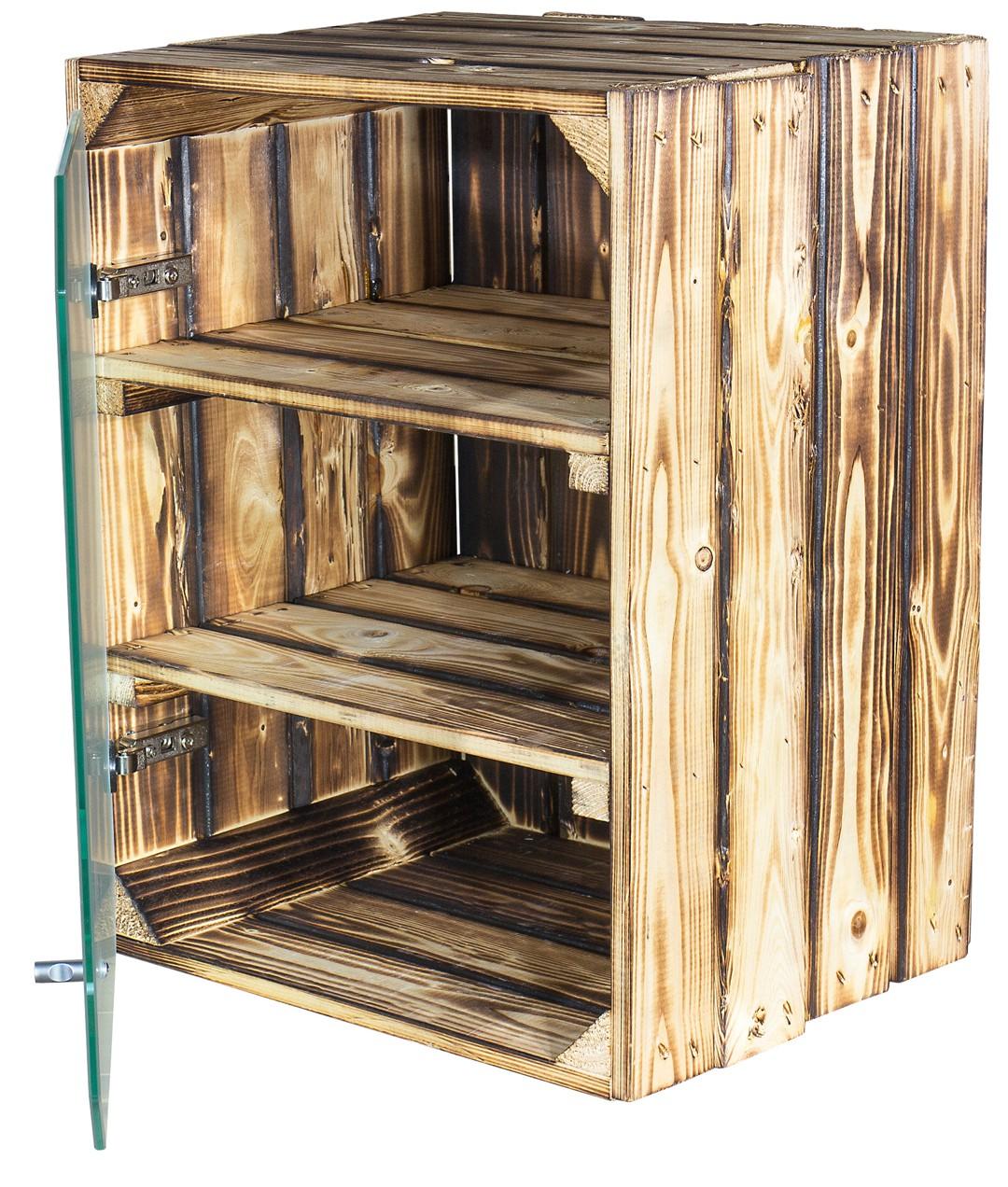 apfelkisten neue geflammte apfelkiste altes land mit glast r milchig 50x40x30cm. Black Bedroom Furniture Sets. Home Design Ideas