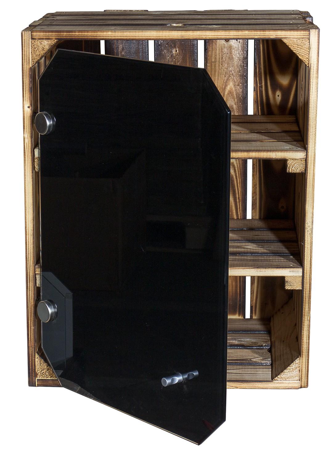 apfelkisten neue geflammte apfelkiste altes land mit glast r schwarz 50x40x30cm. Black Bedroom Furniture Sets. Home Design Ideas