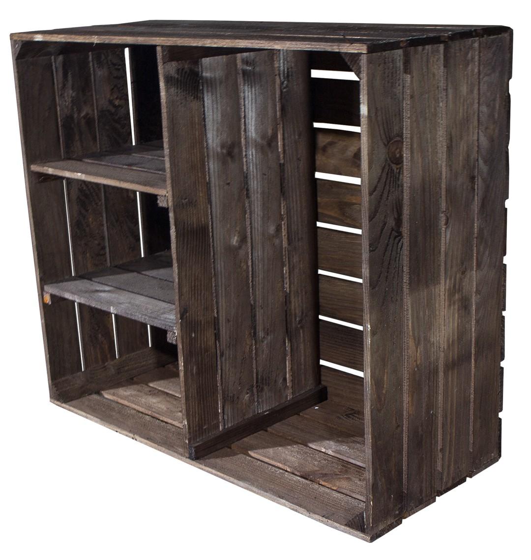 dunkel gebeizter holzschrank mit 2 mittelbretter und. Black Bedroom Furniture Sets. Home Design Ideas