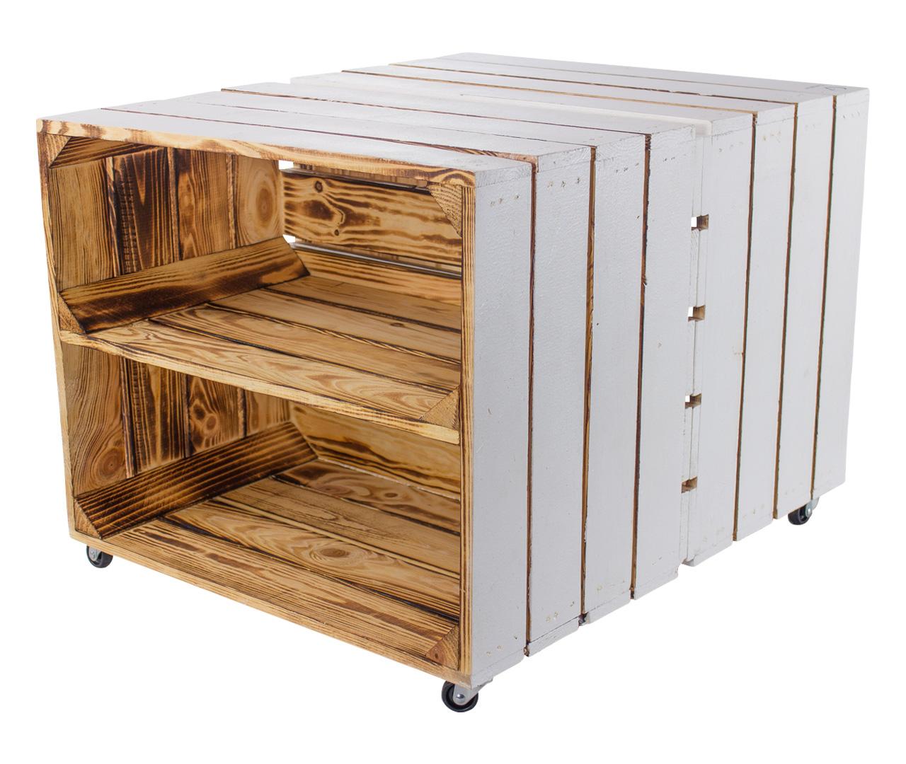 Beistelltisch aus weißen Kisten mit Regalbrett 50x40x60cm