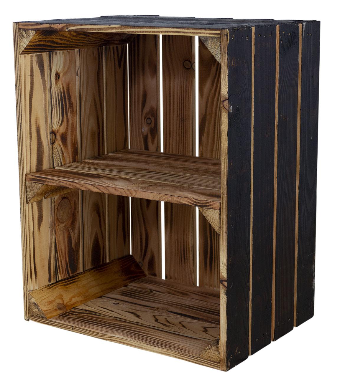 Holzkiste mit Mittelbrett quer - außen schwarz innen geflammt 50x40x30cm