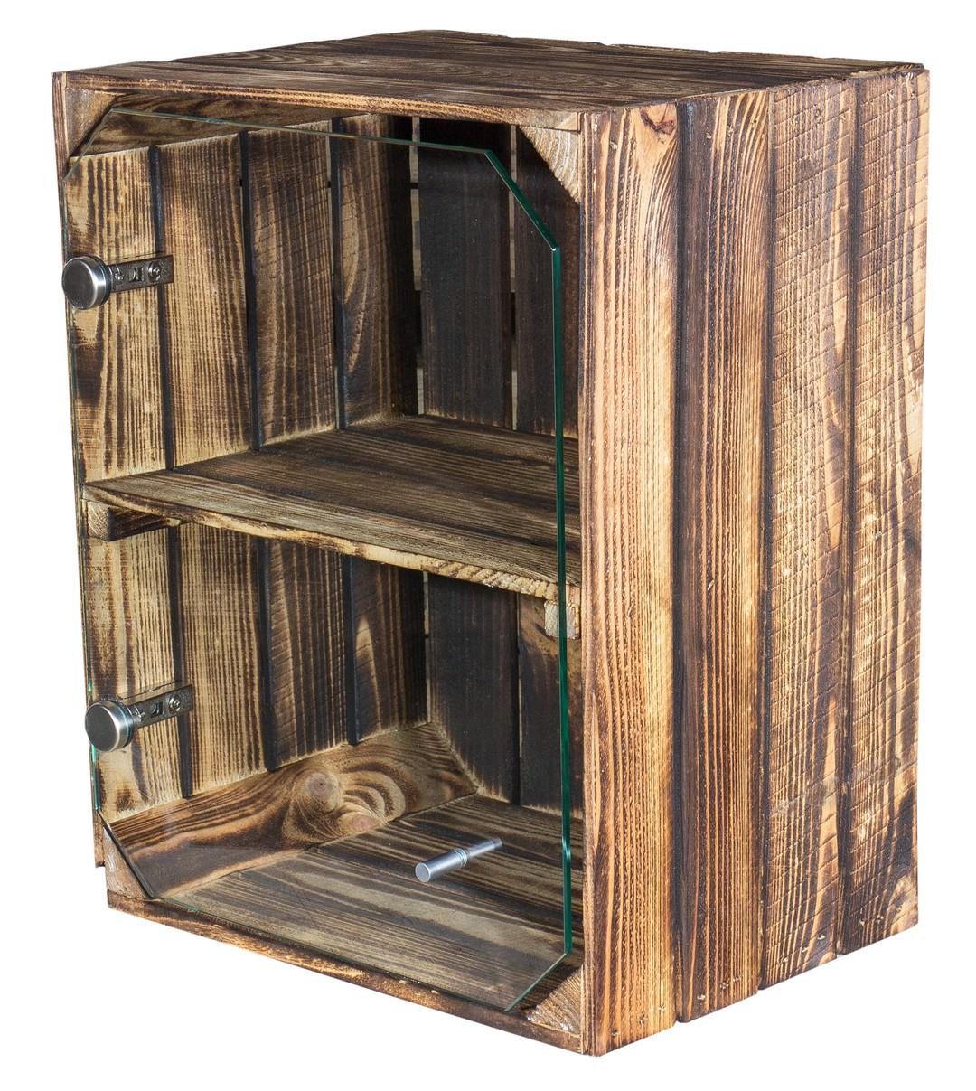 holzkisten neue geflammte apfelkiste altes land mit glast r klar 50x40x30cm obstkisten. Black Bedroom Furniture Sets. Home Design Ideas