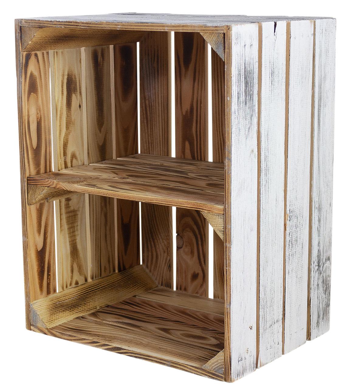 Holzkiste mit Mittelbrett quer - außen vintage innen geflammt 50x40x30cm