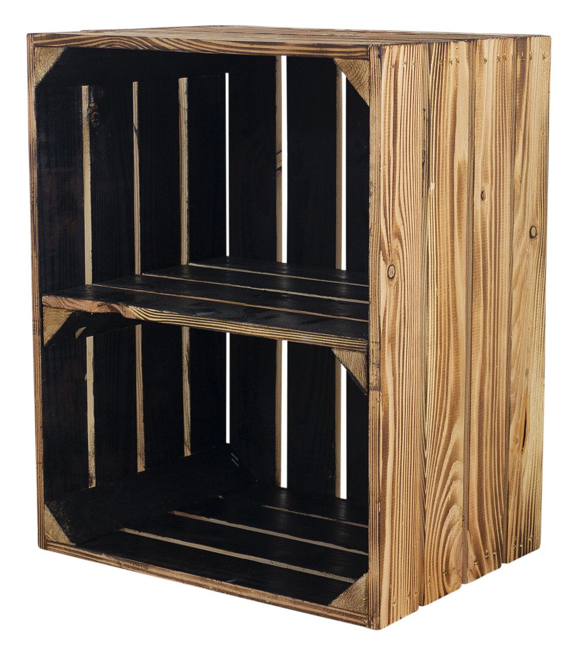 Holzkiste mit Mittelbrett quer - außen geflammt innen schwarz 50x40x30cm