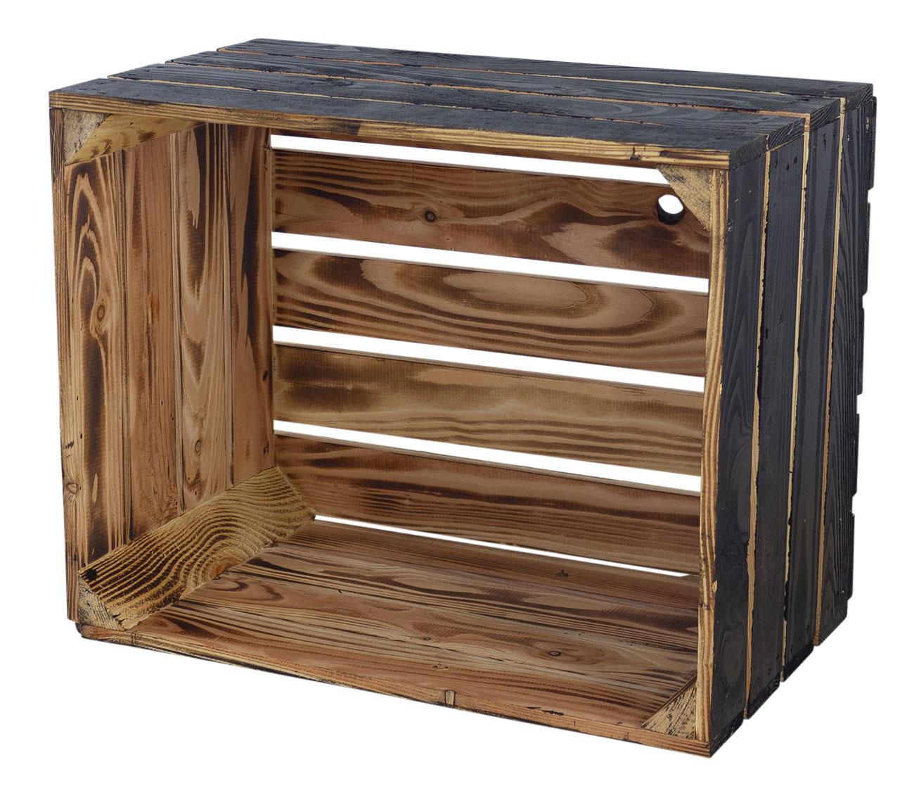 Holzkiste außen schwarz innen geflammt 50x40x30cm