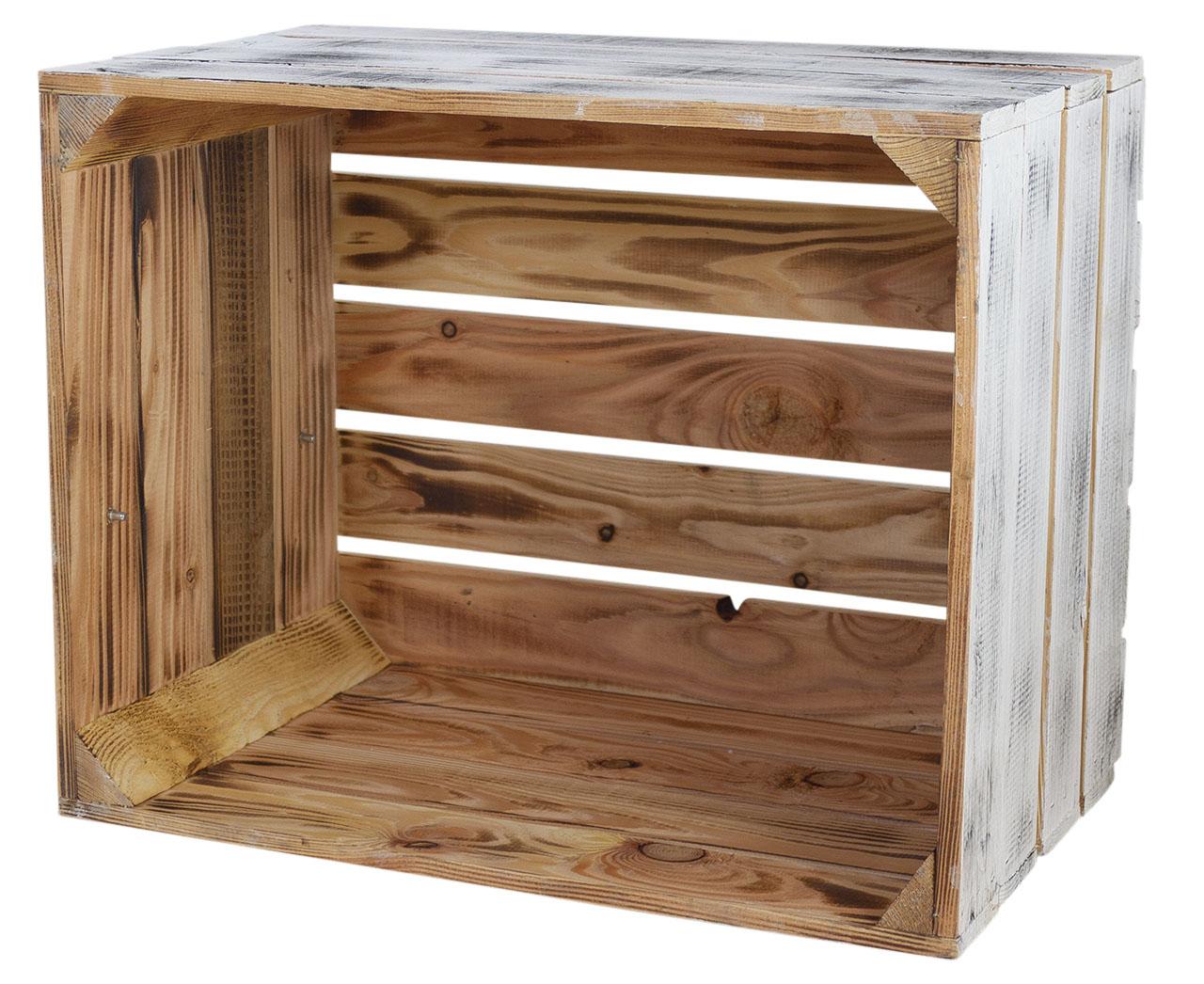 Holzkiste außen vintage innen grau 50x40x30cm