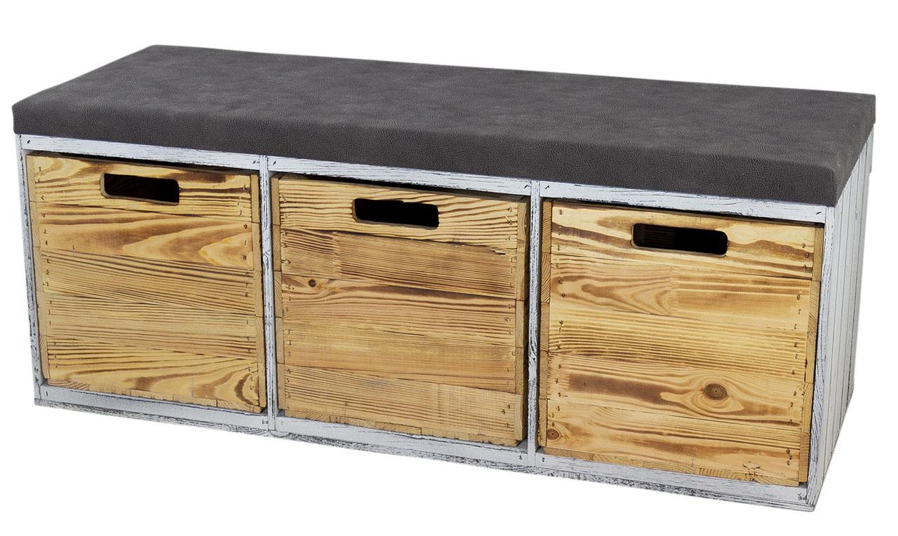 Shabby Sitzbank im Obstkisten Design mit Sitzpolster und 3 Kallax Einschubkisten