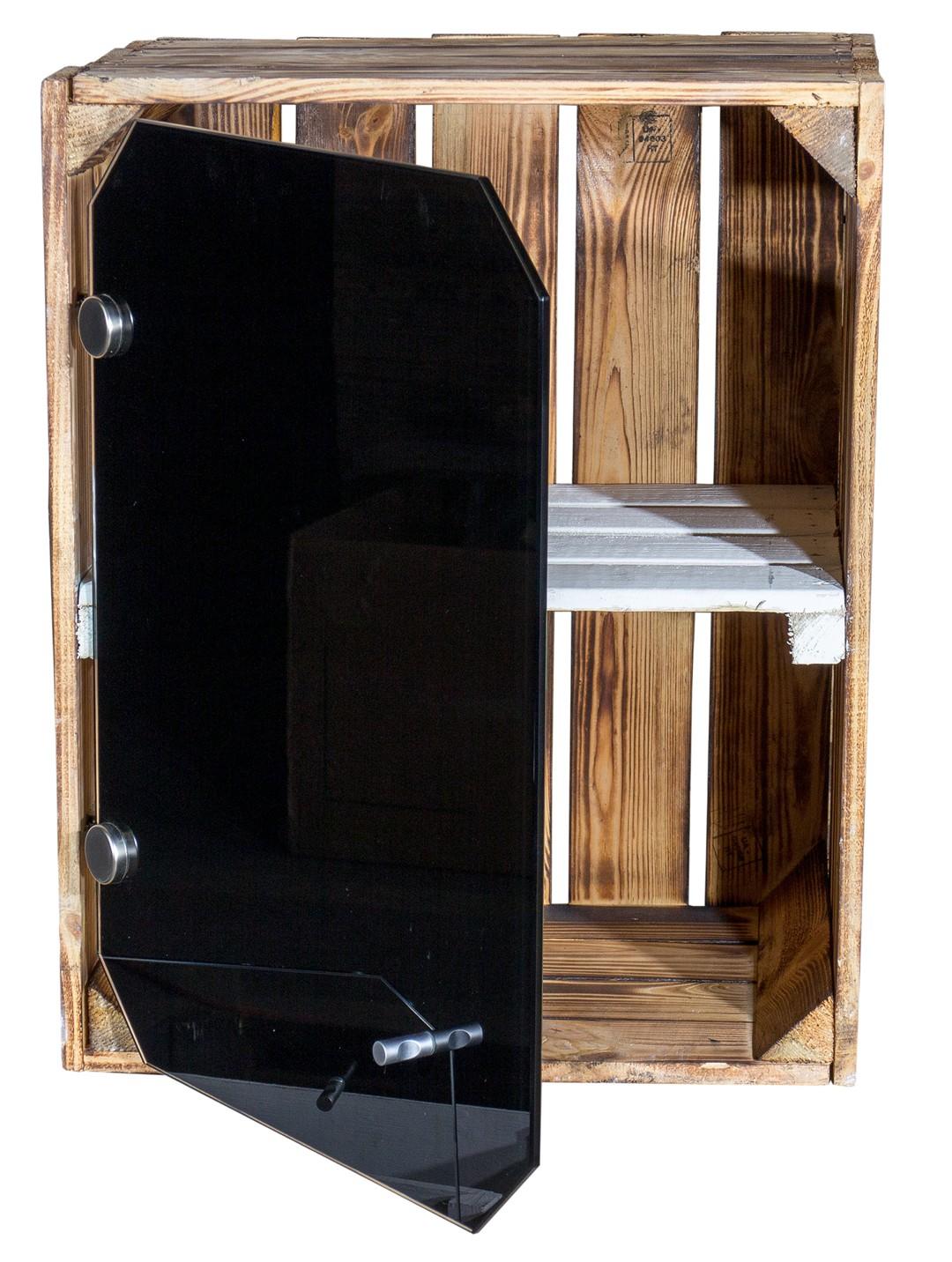 holzkisten neue geflammte apfelkiste altes land mit glast r schwarz und wei em mittelbrett. Black Bedroom Furniture Sets. Home Design Ideas