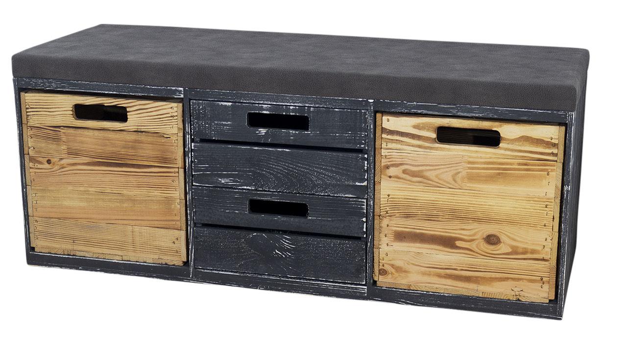 Shabby schwarze Sitzbank im Obstkisten Design mit Sitzpolster und Kallax Einschubkisten