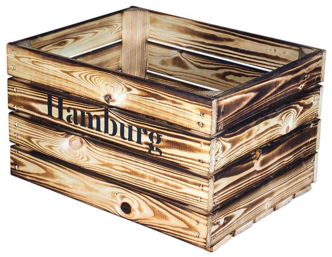 dunkel geflammte kiste mit hamburg aufdruck 50x41x31cm obstkisten deutschlands. Black Bedroom Furniture Sets. Home Design Ideas