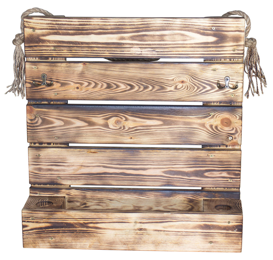 Garderobe aus geflammtem Holz 54x56cm