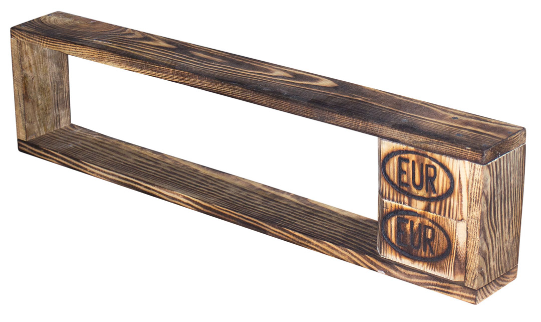 Vintage Regal aus geflammtem Palettenholz 80x20x12cm