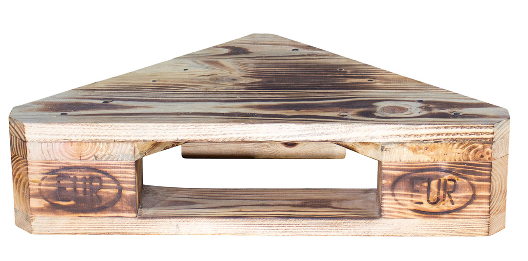 Geflammtes Eckregal aus Palettenholz 60x44x14,5cm