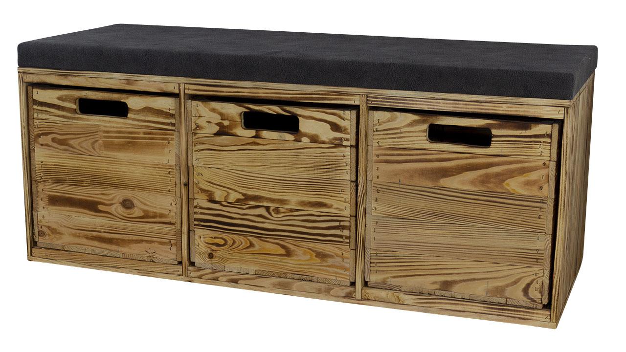 Geflammte Sitzbank im Obstkisten Design mit Sitzpolster und 3 Kallax Einschubkisten