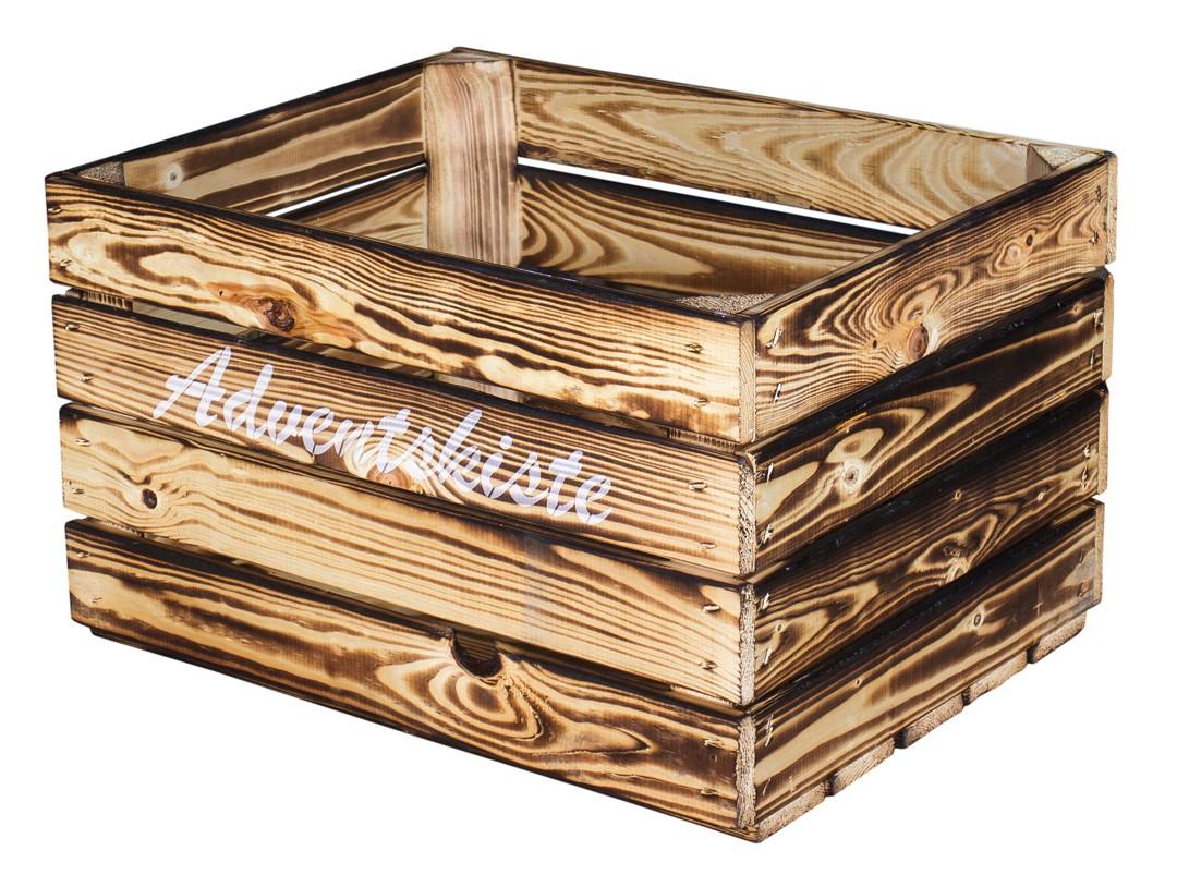 2er Set Geflammte Kiste Mit Wei En Aufdruck Adventskiste
